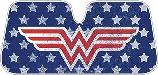 BDK WAS1902 Wonder Woman Auto Sun Shade Windshield for Car SUV Van & Truck - Sunshade Red Logo Blue Background W/Stars - (58 x 28 inch)