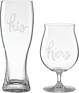 KATE SPADE Two Of A Kind 2Pc His And Hers Beer Mugs, 1.85 LB, Clear
