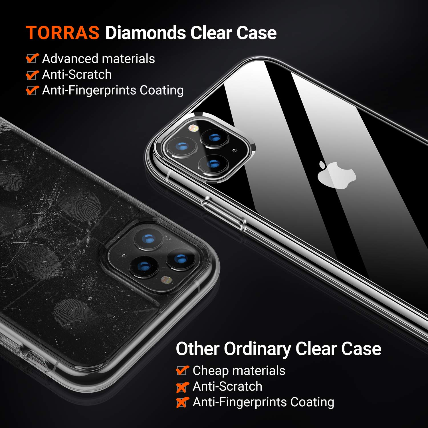Anti-Yellowing Matte Black TORRAS Diamonds Clear iPhone 11 Pro Max Case, Slim Fit Shockproof Hard Plastic Back /& Soft Silicone Bumper Phone Case Designed for iPhone 11 Pro Max Fully Protective