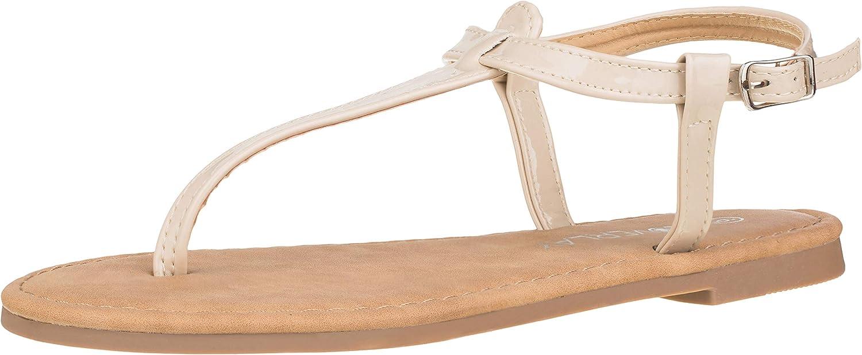 CLOVERLAY Women's T Strap Thong Gladiator Strappy Jelly Shiny Flat Flip Flops Sandals