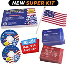 US Citizenship Test 2019 Study Pack - Includes 2 CD Audios, 100 Flash Cards, 1 Workbook, 100 Audios Online, 1 Patriotic Earbuds and 1 Free American Flag.