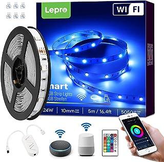 Lepro Smart LED Strip 5M, RGB Dimmbar LED Streifen Wifi, Wlan LED Band, Superhell Selbstklebend Lichtband, Lichterkette St...