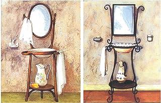 Cuadro Decorativo Vintage de lavabos Antiguos. Set de 2 Unidades de 19 cm x 25 cm x 4 mm unid. Adhesivo FÁCIL COLGADO. Adorno Decorativo. Decoración Pared hogar