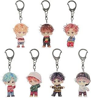 Youyouchard Cute Cartoon Kpop BTS Bangtan Boys Keychain Key Ring Set Cool Fashion Gift for A.R.M.Y Fans (Style 1: 7PCS)