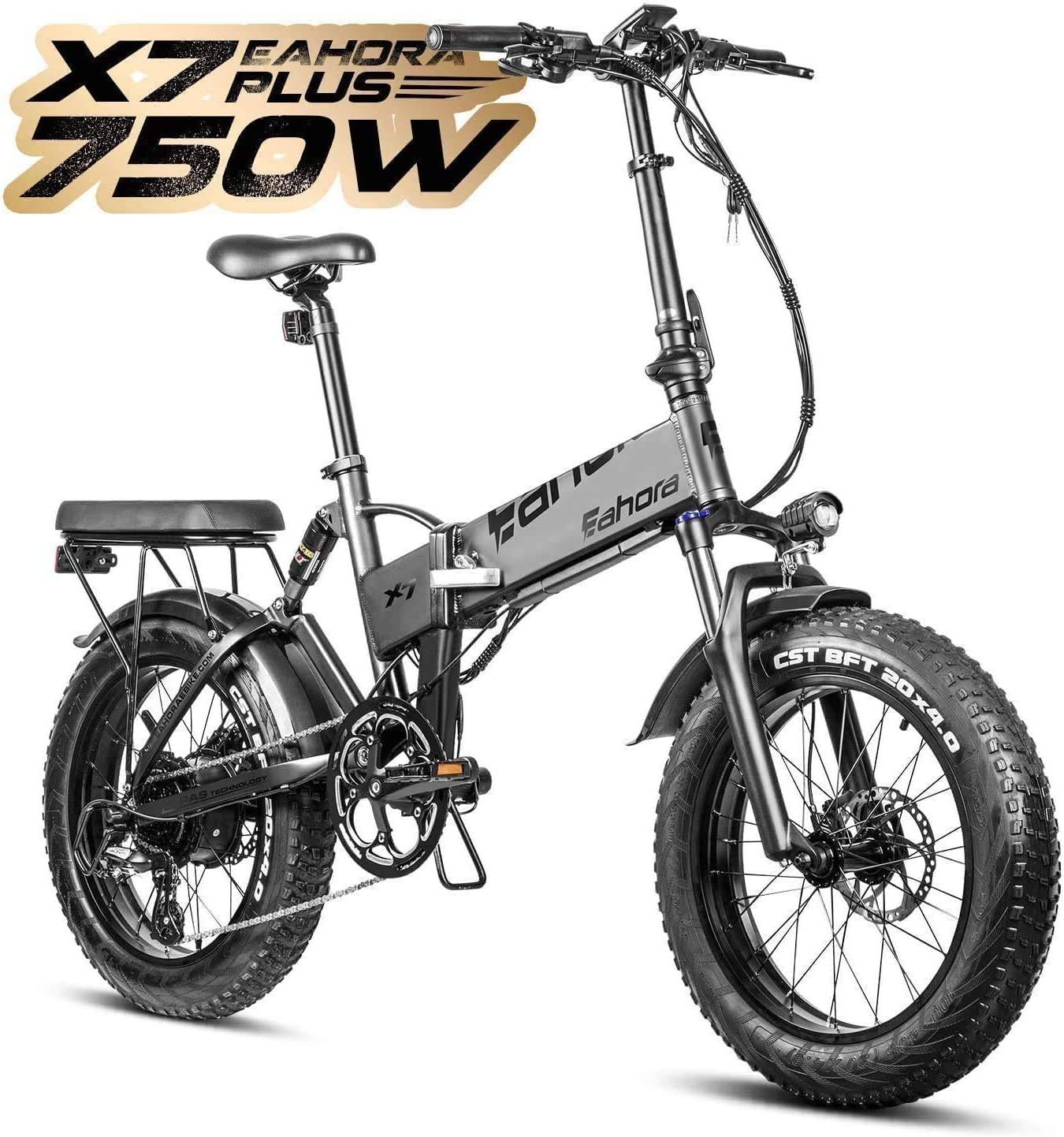 eAhora X7 Plus 48V 750W Folding Electric Bike Cruise Control 20 Inch Fat Tire Beach Snow All Terrain Electric Bicycle with Electric Lock 10.4Ah Battery Ebike for Adults Power Regeneration 8 Speed
