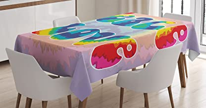 Ambesonne Groovy Tablecloth, Peace and Love Text in Tie Dye Effect Pattern Energetic Youthful Fun 60s 70s Hippie, Dining Room Kitchen Rectangular Table Cover, 52