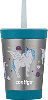 Contigo Spill-Proof Tumbler with straw, 12 Ounce, Honeydew with Unicorn GFX