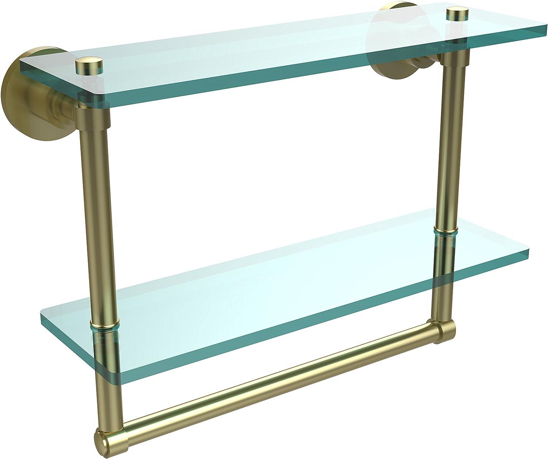 Allied Brass WS-2TB 16-SBR 16-Inch Double Glass Shelf with Towel Bar