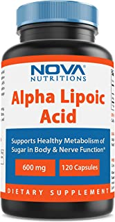 Nova Nutritions Alpha Lipoic Acid ALA 600 mg (Non-GMO) for Healthy Blood Sugar Support & Antioxidant Support, 120 Capsules