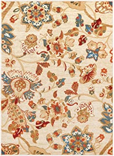 Luxe Weavers Howell Collection Oriental Floral Ivory 5x7 Area Rug