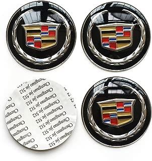 4PCS 65MM 2.56'' Auto Car Styling Accessories Emblem Badge Sticker Wheel Hub Caps Centre Cover fit for Cadillac ATS CTS EXT SRX XTS XLR (Black, 65MM)