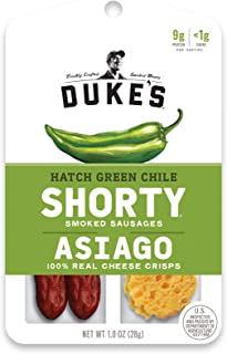 Duke's Hatch Green Chile SHORTY Smoked Sausages & Asiago Cheese Crisps, 1 Ounce