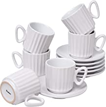 Ribbed Espresso Set of 6 Cups with Saucers by Bruntmor - Demitasse Cups, Perfect for Espresso, Cappuccino, Coffee Latte ( ...