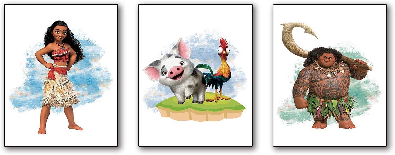 "Cartoons Moana Art Prints Sea Blue Water Summer Cartoon Art Painting Set of 3 (8""X10"" Canvas Picture) Children Kindergarten Boys Girls and Daughter Room Nursery Decor Prints No Frame"