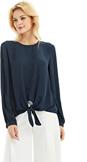 BASIC MODEL Women's Long Sleeve Chiffon Blouse Tie Front Casual Tops, Navy, M