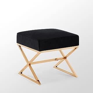 Luxe-Living Inspired Home Velvet Ottoman - Black/Gold | Design: Aurora | X-Leg | Gold Base