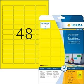 HERMA Etichette per Marcatura, 45,7 x 21,2 mm, Etichette Adesive A4 per Stampante, 48 Etichette per Foglio, Giallo