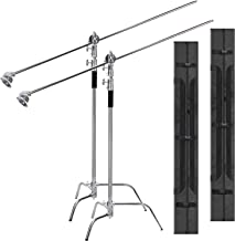 2 Packs EACHSHOT C Stand with Bags Metal Max 10.8ft/330cm with 4.2ft/128cm Holding Arm 2 Pieces Grip Head for Godox AD400 ...