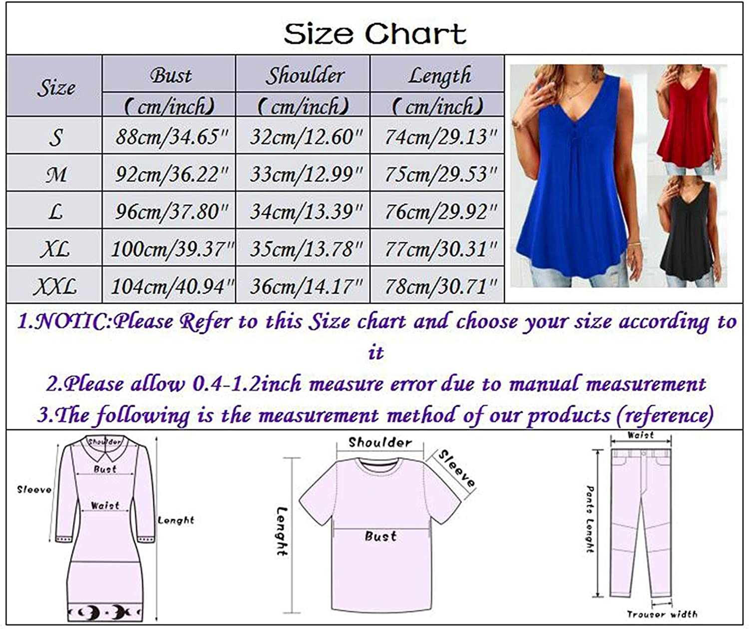 Fankle Women's Plus Size Sleeveless Pleated Blouse Solid Color Button Down Tunic Tops Shirts