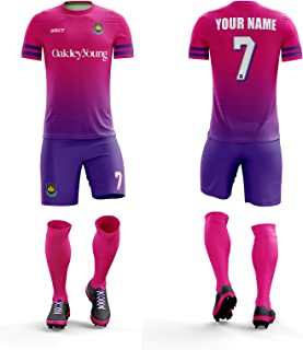 ORKY Personalized Soccer Jersey Short Men Kids Customize Name Number Logo Colour Uniform for Football Team Stripe
