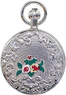 ZHJBD JIAN,Pocket Watch Métal Cuivre Argent Camélia, Montre De Poche Mécanique Automatique Mme Rétro Modèle Classique Clam...