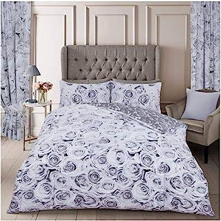 Gaveno Cavailia Soft & Cosy Belle Rose Floral Duvet Cover, Easy Care Reversible Quilt Set, Cotton & 50% Polyester, Grey, D...
