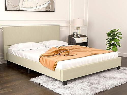 mecor Upholstered Linen Full Size Platform Bed Metal Frame
