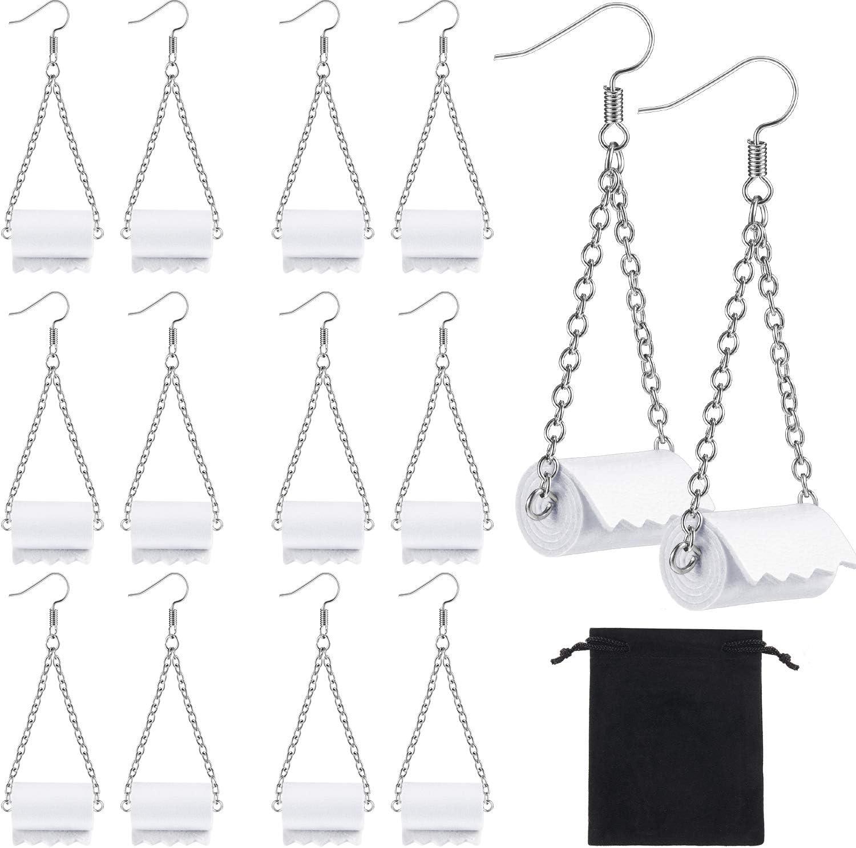 7 Pairs Women Toilet Paper Earrings Earr Funny Roll Popular popular Max 62% OFF