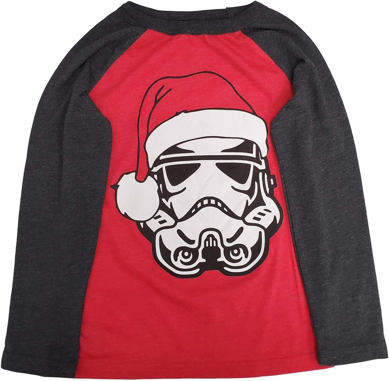 Star Wars Boys Long Red Santa Storm Troopers Christmas Holiday T-Shirt Shirt