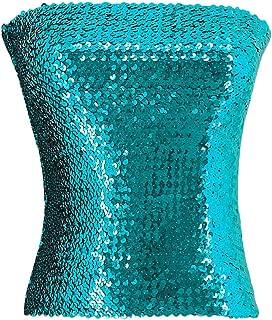 Women Sequin Off Shoulder Tube Top Stretchy Chest Wrap Party Blouse Performance Vest