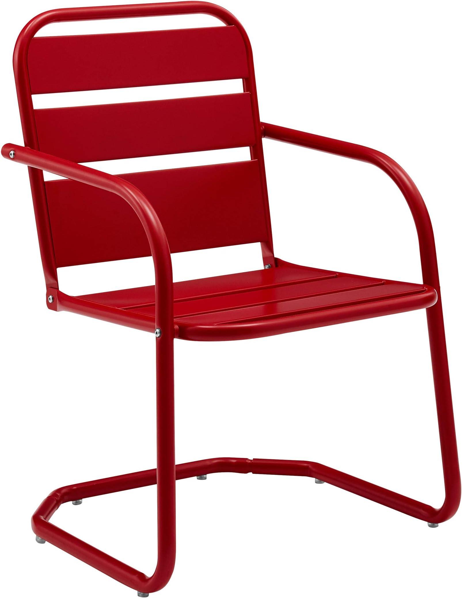 Crosley Furniture CO1030-RE Brighton Retro Metal Chair, Set of 2, Red