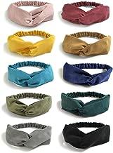 DRESHOW 10 Pack Boho Headbands for Women Vintage Cross Elastic Head Wrap Hair Accessories