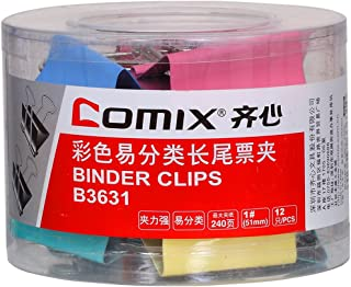 Comix Binder Clips 50mm, Colored, (Pack of 12