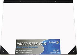 """Artistic 17""""x22"""" Plain White Paper Drawing & Note Desk Pad, 50 Sheets, Perforated, Ideal for Ideas & Notes, Protects Desks..."""