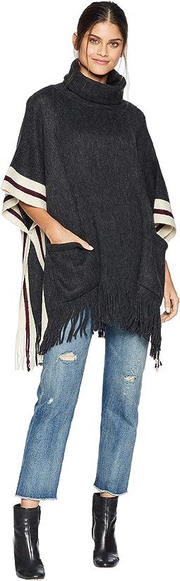 Fuzzy Stripe Poncho