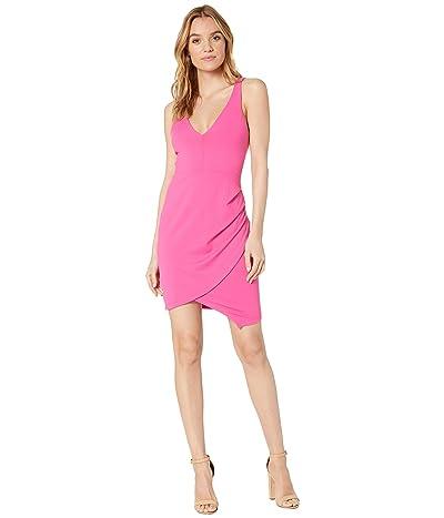 Susana Monaco Plunge Neckline Side Pleat Dress (Punch Pink) Women