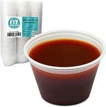 [250 Pack] 4 oz BPA Free Plastic Portion Cup - Disposable Jello Shots Sauce Condiment Souffle Dressing Mini Containers, Medicine Cups No Lids