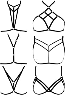 SATINIOR 6 Pieces Women Harness Bra Elastic Cupless Cage Bra Strappy Hollow Out Lingerie, Black