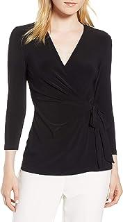 May&Maya Women's Faux Wrap Jersey Top Shirt Blouse Tee