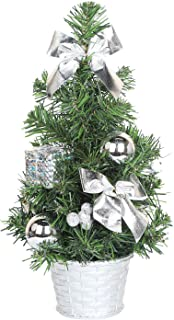 SHareconn Artificial Spruce Mini Tabletop Christmas Tree, 12 Inch Xmas Decor Tree with Silver Ornaments