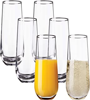 Kitchen Lux 10oz Highball Tumblers - Set of 6 Drinking Glasses – Premium Clear Glass, Wine, Shots, Cocktails, Champagne, and All Purpose Drinking Cups – Elegant Stemless Design – Dishwasher Safe