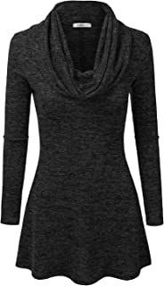 Marled Cowl Neck A-Line Tunic Sweater Dress Top for Women with Plus Size