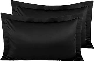 NTBAY Satin Pillow Shams, 2 Pcs Super Soft and Luxury Pillowcases, Black, King