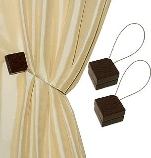 MagnaClips Curtain Tiebacks or Holdbacks, Curtain Clips - Magnetic Wood Buckle, Set of 2, Quadra (Chocolate)