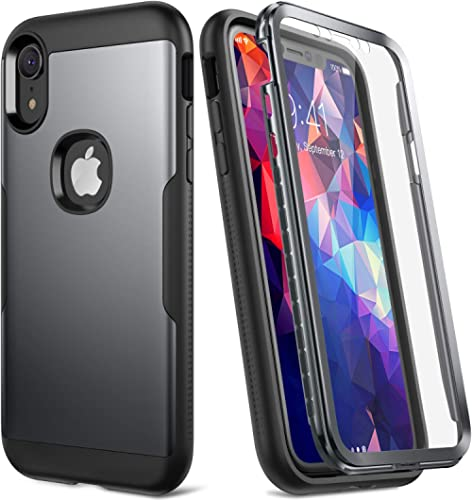YOUMAKER Metallic Designed for iPhone XR Case, Full Body Rugged with Built-in Screen Protector Slim Fit Shockproof Co...