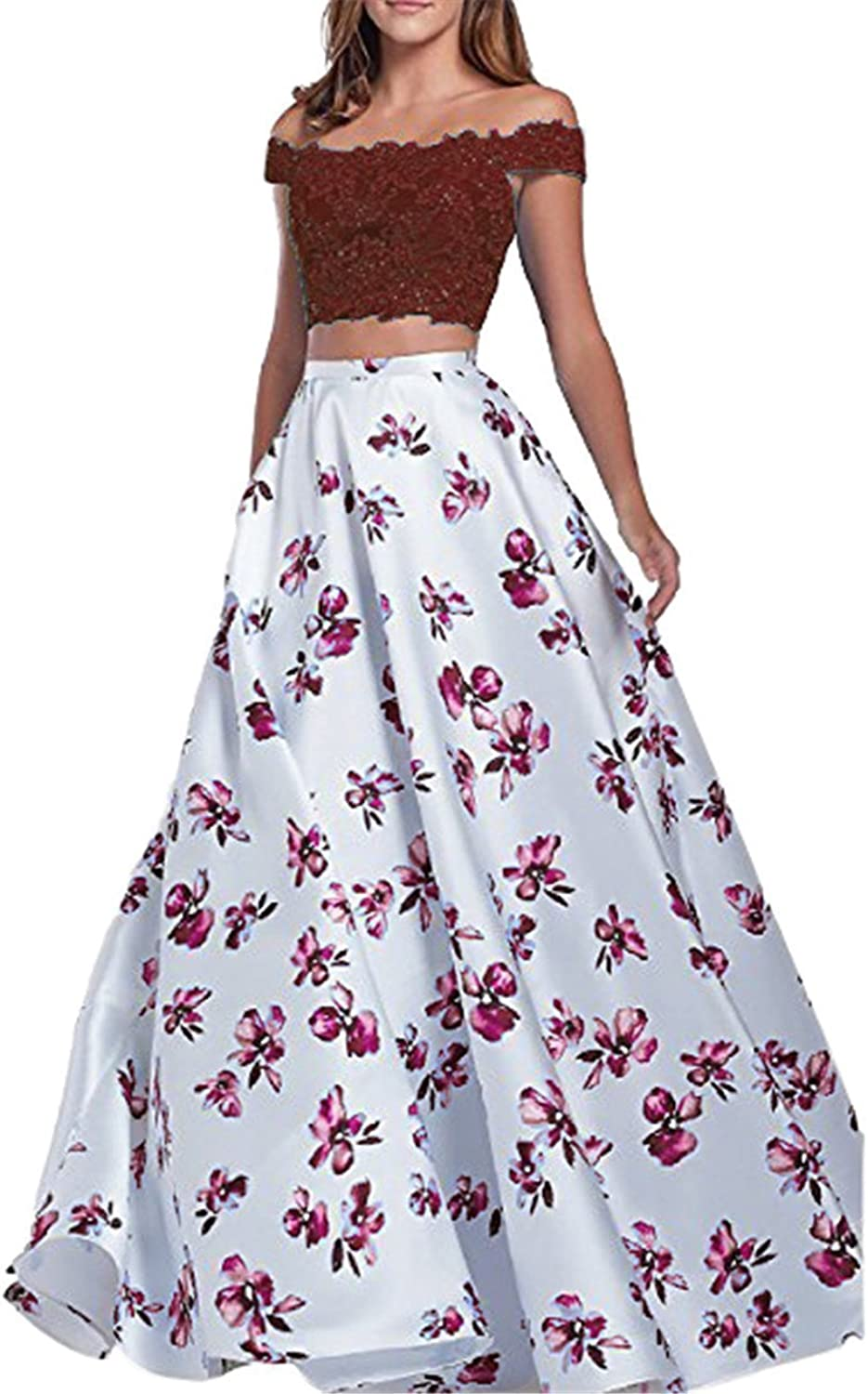 BessWedding Women's Off The Shoulder 2 Piece Floral Prom Dreeses 2018 Long BWF007