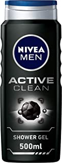 NIVEA MEN Active Clean Charcoal Shower Gel, Woody Scent, 500ml