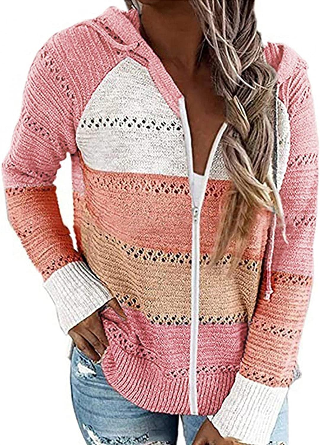 Haheyrte Cute Hoodies for Women Casual Patchwork Long Sleeve Hooded Sweater Cardigan Casual Sweatshirts Pullover Tops