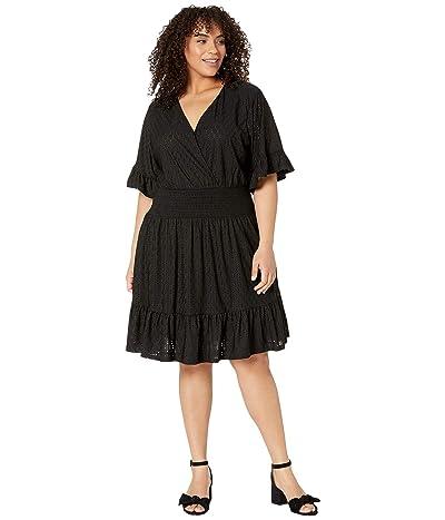 MICHAEL Michael Kors Plus Size Eyelet Smocked Waist Dress (Black) Women