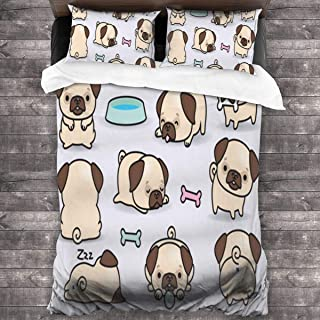 Loveful Personalized Kids Bedding Duvet Cover Set Kawaii Pugs Twin Quilt Covers for Toddler Teen Boys Girls Children 3 Piece Soft Microfiber Comforter Cover Set with 2 Pillowcases 86